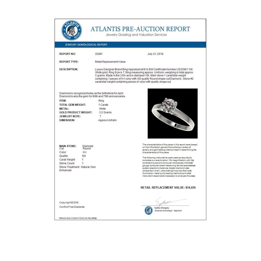 Lot 5171: 1 CTW Certified H-SI/I Quality Diamond Solitaire Engagement Ring 10K White Gold - REF-199T5M - 32981