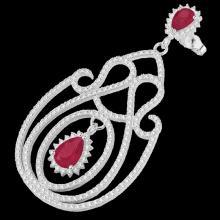 Genuine 6.40 CTW Ruby & Micro Pave Diamond Certified Designer Earrings 14K Gold - 22427-REF#243Y4V