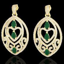 Natural 7.0 CTW Emerald & Micro Pave Diamond Heart Earrings Designer In 18K Gold - 21154-REF#248V2F