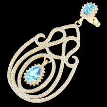 Genuine 6.40 CTW Topaz & Micro Pave Diamond Certified Designer Earrings 14K Gold - 22433-REF#243M4H