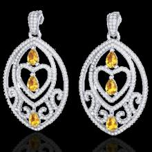 Natural 7.0 CTW Sapph Yell & Micro Pave Diamond Heart Earrings Designer In 18K Gold - 21166-REF#254N5G