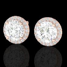 Natural 4.0 CTW Halo Diamond Certified Micro Pave Earrings Solitaire 14K Gold - 21488-REF#1124A2N