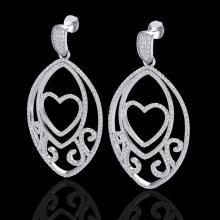 Natural 3.20 CTW Micro Pave Diamond Certified Designer Heart Earrings 18K Gold - 22584-REF#231K3T