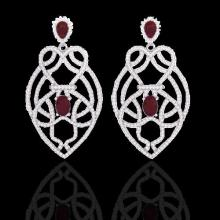 Natural 7.0 CTW Ruby & Micro Pave Diamond Heart Earrings Designer Solitaire 14K Gold - 21138-REF#224Y4V