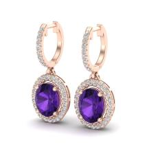 Genuine 3.50 CTW Amethyst & Micro Pave Diamond Earrings Solitaire Halo 14K Gold - 20307-REF#67F3M