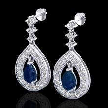 Genuine 2.25 CTW Sapphire & Micro Pave Diamond Earrings Designer 14K Gold - 23155-REF#91Z5Y