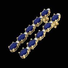 Natural 17.97 CTW Sapphire & Diamond Certified Tennis Earrings Gold - 29490-REF#68M5H