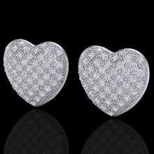 Genuine 1.50 CTW Designer Micro Pave Diamond Certified Heart Earrings 14K Gold - 20177-REF#75Y9V