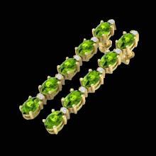 Natural 6.0 CTW Peridot & Diamond Certified Tennis Earrings Yellow Gold 10K Gold - 21528-REF#37F2M