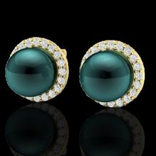 Natural 0.50 CTW Micro Halo Diamond Certified & Peacock Pearl Earrings 18K Gold - 21500-REF#50K3T
