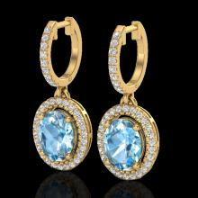 Natural 4.25 CTW Sky Blue Topaz & Micro Pave Diamond Earrings Solitaire Halo 18K Gold - 20318-REF#80Z5Y