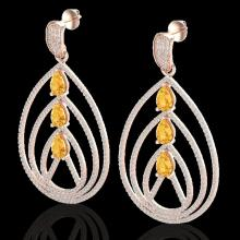 Genuine 4.0 CTW Citrine & Micro Pave Diamond Certified Designer Earrings 14K Gold - 22453-REF#184T9X