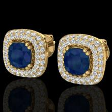 Genuine 2.16 CTW Sapphire & Micro Pave Diamond Earrings Solitaire Double Halo 18K Gold - 20349-REF#90Z2Y