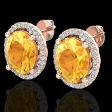 Natural 5.0 CTW Citrine & Micro Pave Diamond Certified Earrings Halo 14K Gold - 21050-REF#50A8N