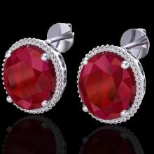 Genuine 25 CTW Ruby & Micro Pave Diamond Certified Halo Earrings 18K Gold - 20275-REF#143Y5V