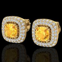 Natural 2.16 CTW Citrine & Micro Pave Diamond Earrings Solitaire Double Halo 18K Gold - 20340-REF#90G8W