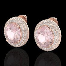 Natural 9.0 CTW Morganite & Micro Pave Diamond Certified Earrings 14K Gold - 20228-REF#204T3X