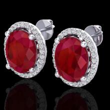 Natural 6.0 CTW Ruby & Micro Pave Diamond Certified Earrings Halo 18K Gold - 21062-REF#57Z3Y