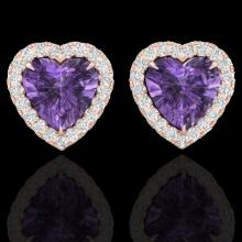 Natural 2.0 CTW Amethyst & Micro Pave Diamond Earrings Heart Halo In 14K Gold - 21198-REF#29W2K
