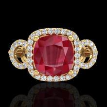 3.15 CTW Ruby & Micro VS/SI Diamond Certified Ring 18K Gold - 23009-REF-72F2X