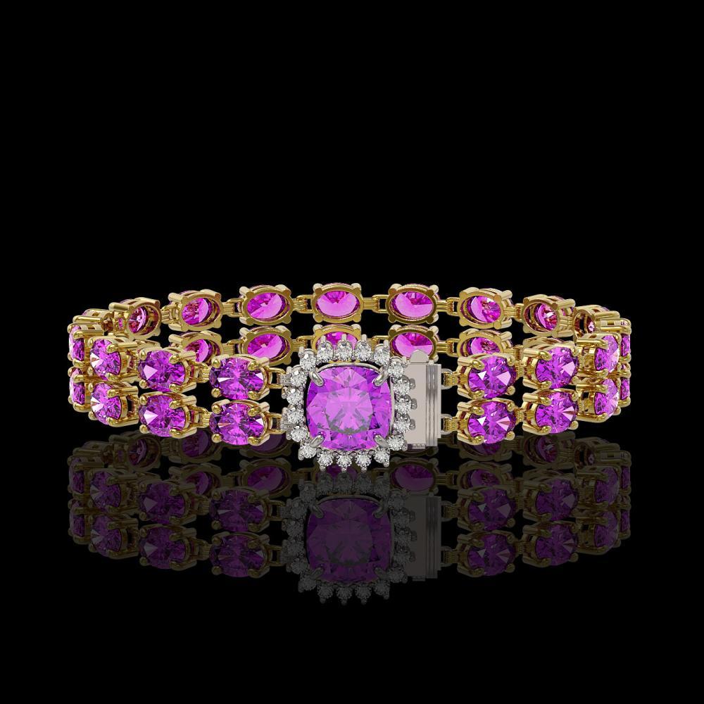 14.31 ctw Amethyst & Diamond Bracelet 14K Yellow Gold - REF-168V4Y - SKU:45634