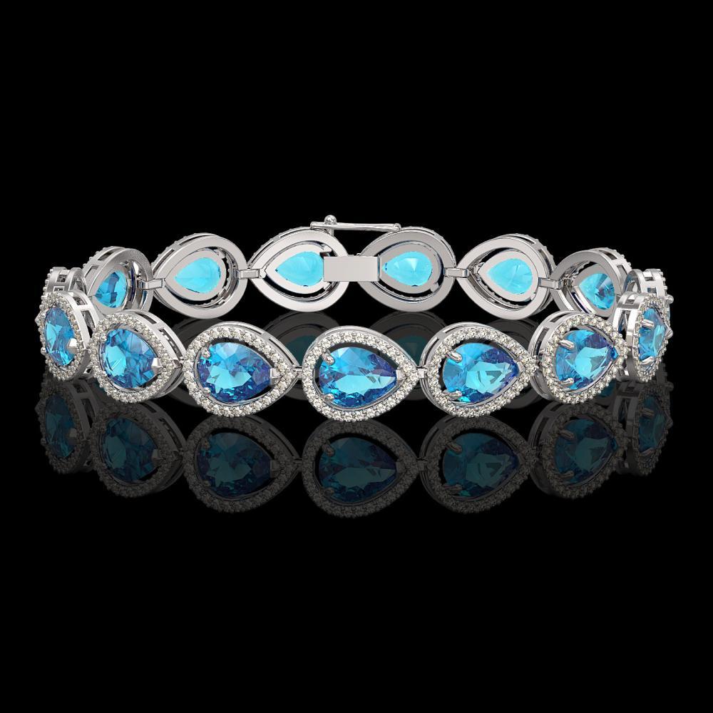 20.3 ctw Swiss Topaz & Diamond Halo Bracelet 10K White Gold - REF-286X2R - SKU:41267