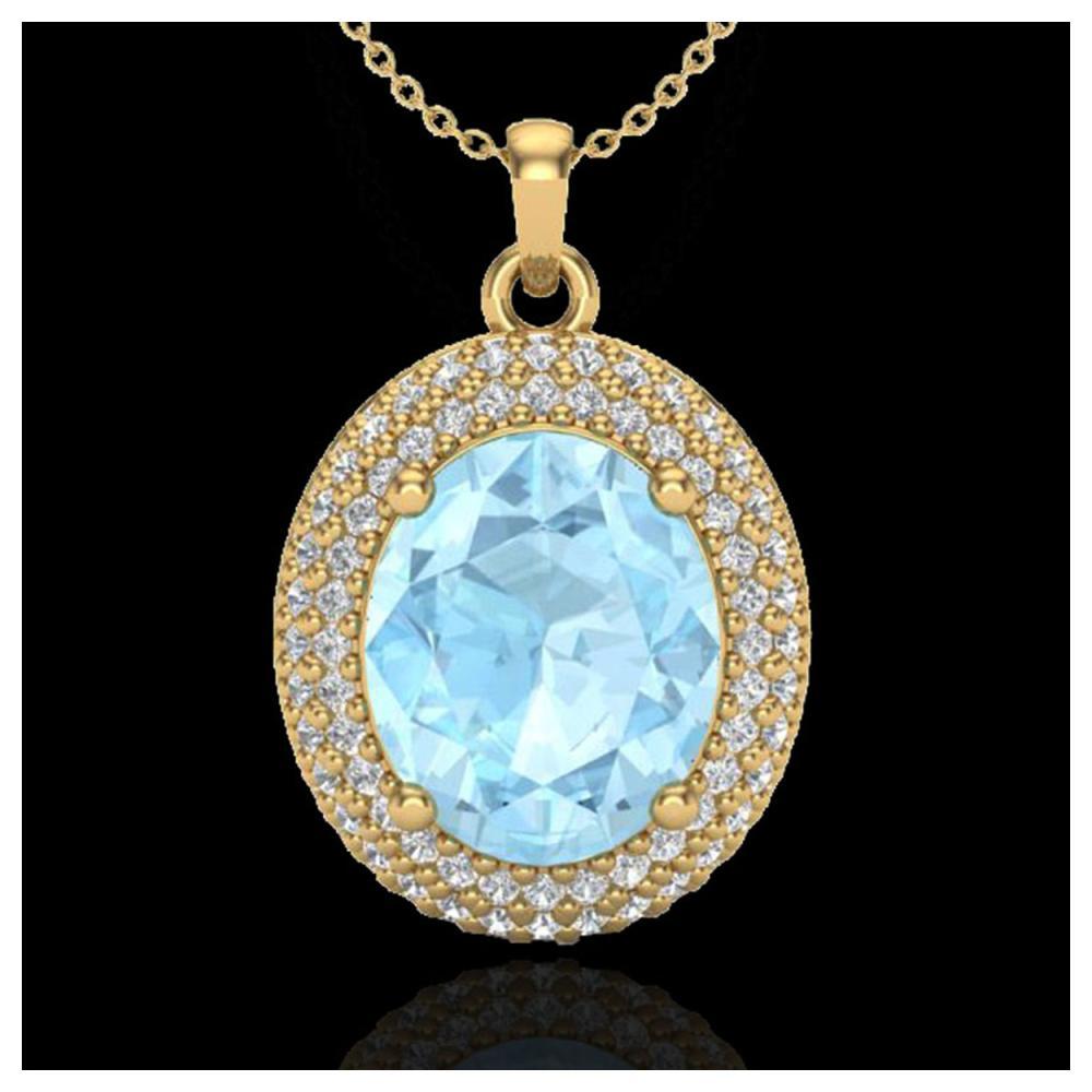 4 ctw Aquamarine & VS/SI Diamond Necklace 18K Yellow Gold - REF-122H7M - SKU:20555