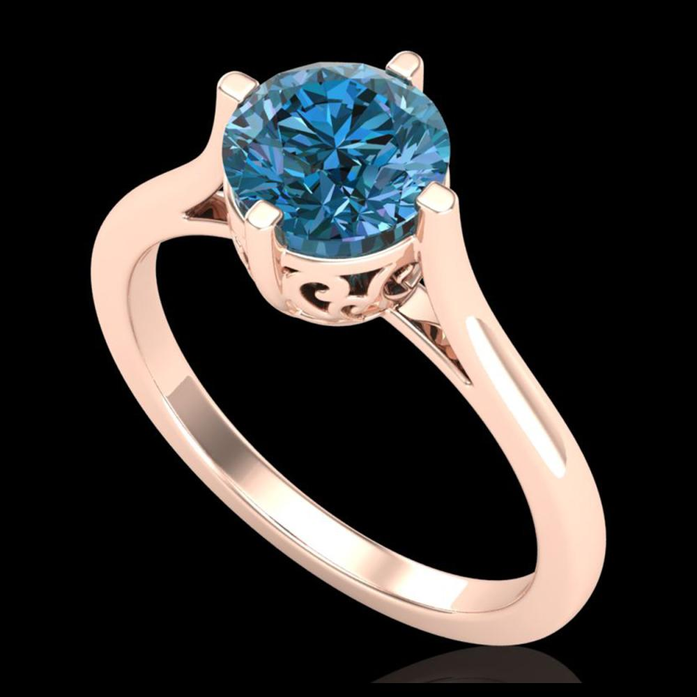 1.25 ctw Fancy Intense Blue Diamond Art Deco Ring 18K Rose Gold - REF-218Y2X - SKU:38063