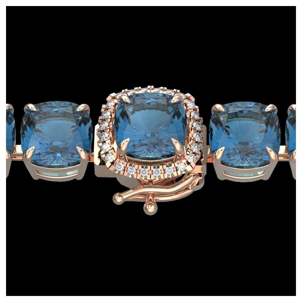 35 ctw London Blue Topaz & Diamond Bracelet 14K Rose Gold - REF-169H3M - SKU:23331