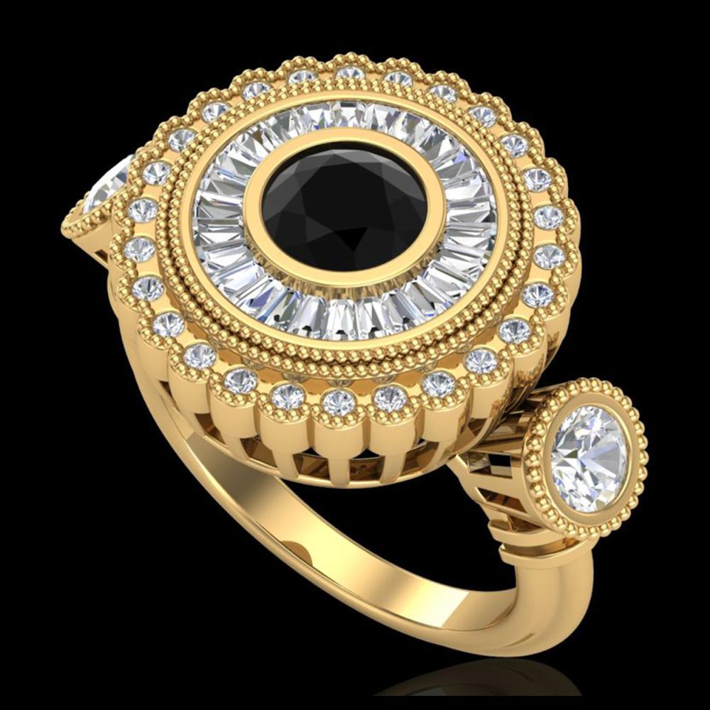 2.62 ctw Fancy Black Diamond Art Deco 3 Stone Ring 18K Yellow Gold - REF-254Y5X - SKU:37921