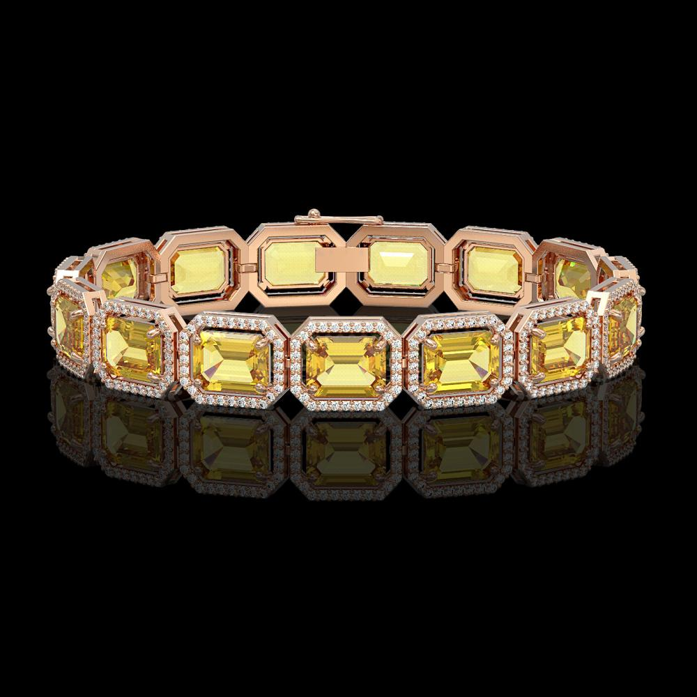 34.91 ctw Fancy Citrine & Diamond Halo Bracelet 10K Rose Gold - REF-336Y4X - SKU:41565