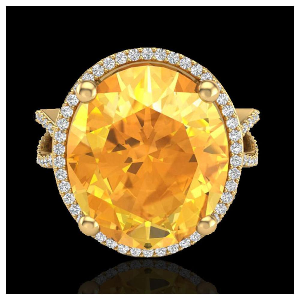 10 ctw Citrine & VS/SI Diamond Ring 18K Yellow Gold - REF-80W2H - SKU:20959