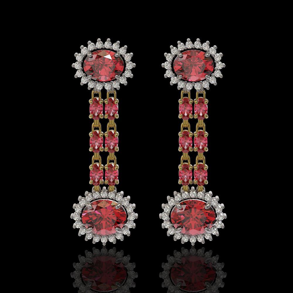 8.69 ctw Tourmaline & Diamond Earrings 14K Yellow Gold - REF-180V2Y - SKU:44302