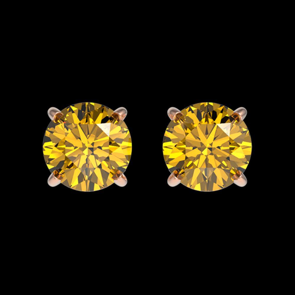 1.08 ctw Intense Yellow Diamond Stud Earrings 10K Rose Gold - REF-116R3K - SKU:36598
