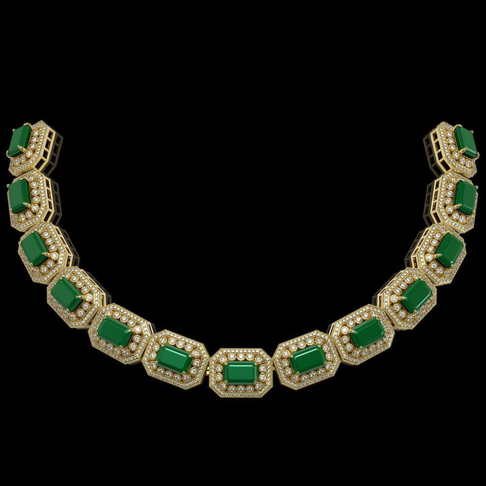 61.92 ctw Emerald & Diamond Bracelet 14K Yellow Gold - REF-1288R4K - SKU:43486