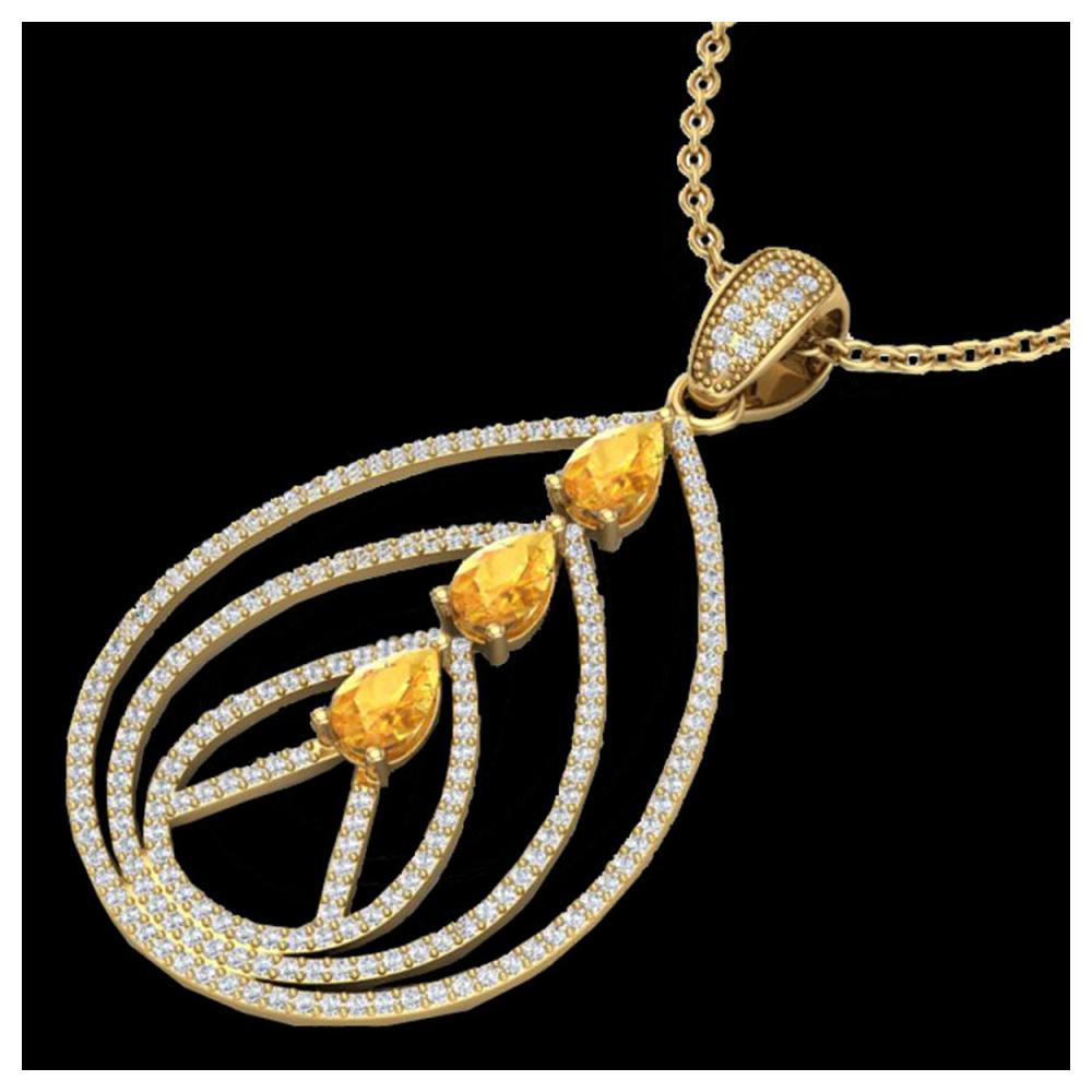 2 ctw Citrine & VS/SI Diamond Necklace 18K Yellow Gold - REF-133A3V - SKU:22466