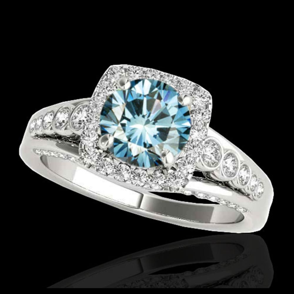 2 ctw SI Blue Diamond Solitaire Halo Ring 10K White Gold - REF-185A5V - SKU:34324