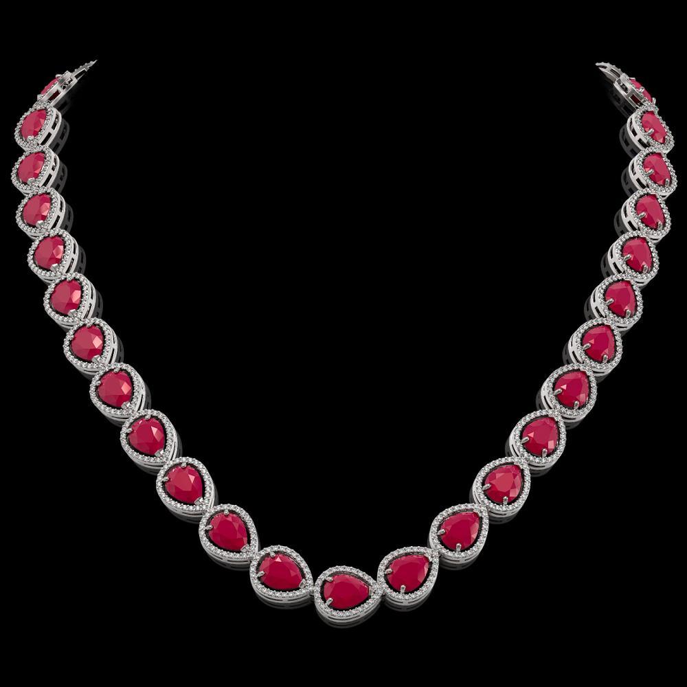 64.01 ctw Ruby & Diamond Halo Necklace 10K White Gold - REF-854V5Y - SKU:41189