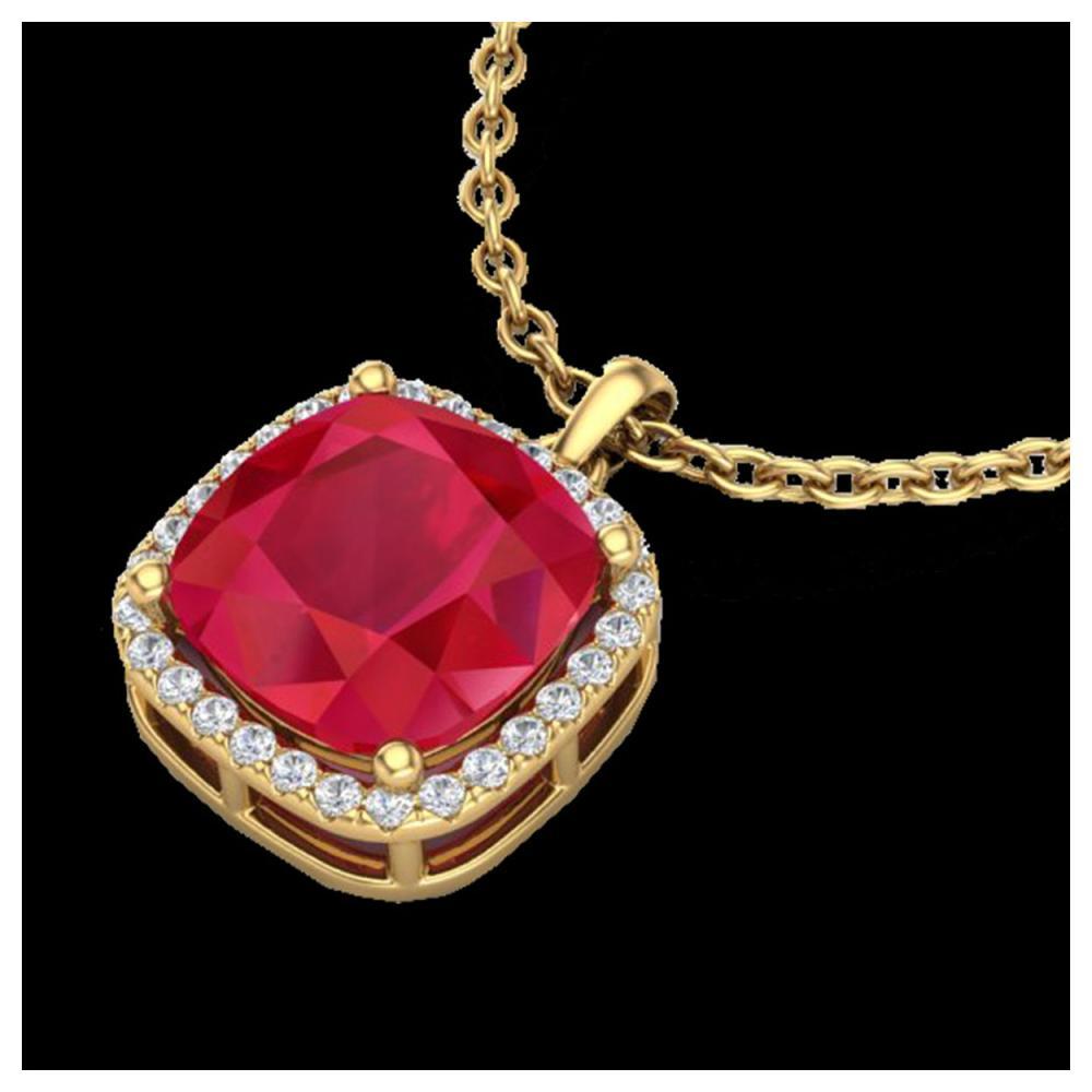 6 ctw Ruby & Halo VS/SI Diamond Necklace 18K Yellow Gold - REF-85Y5X - SKU:23085