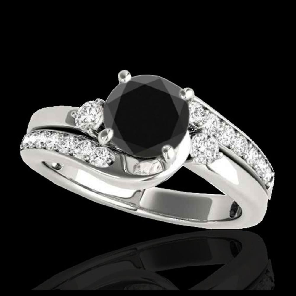 2 ctw VS Black Diamond Bypass Solitaire Ring 10K White Gold - REF-66N8A - SKU:35102