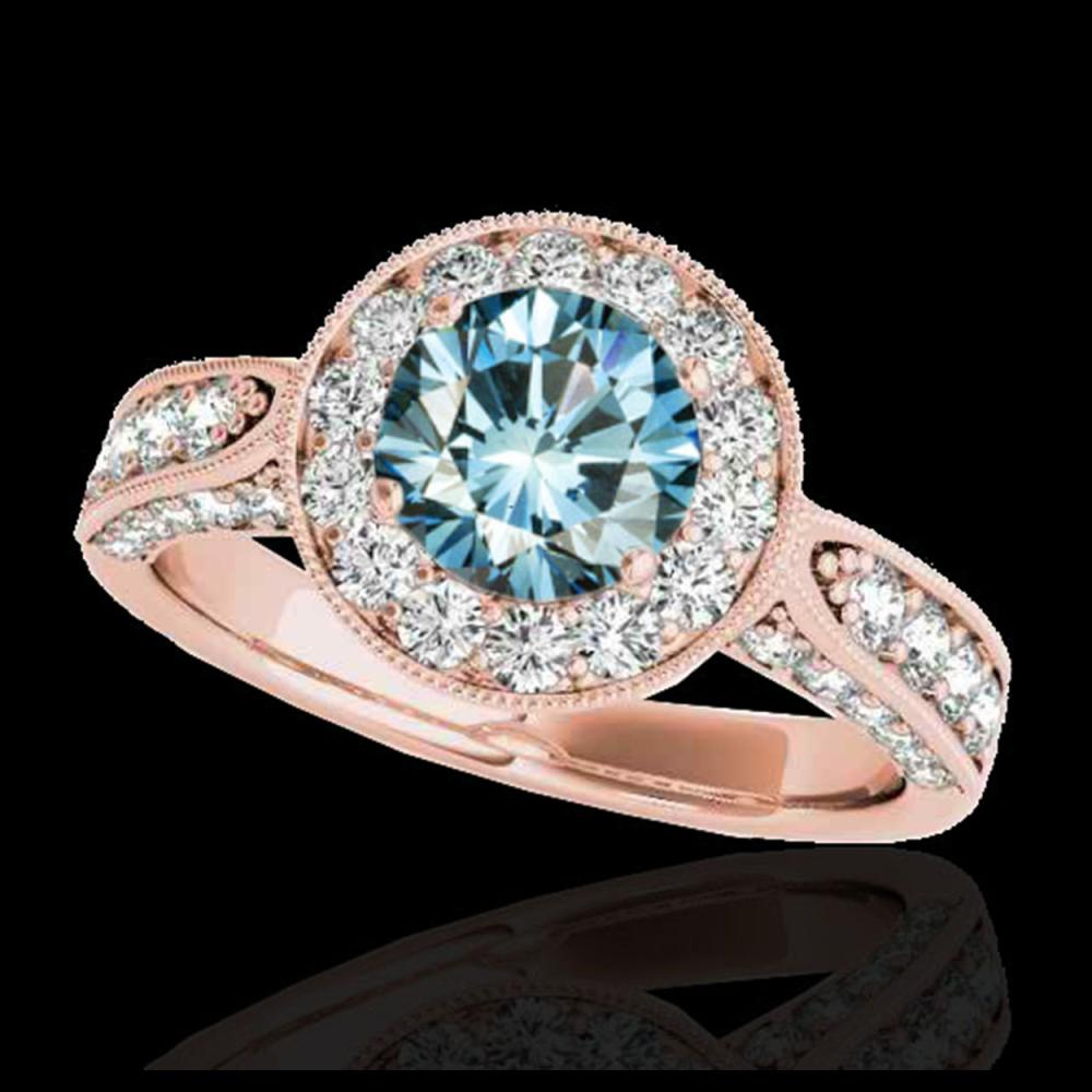 2 ctw SI Fancy Blue Diamond Solitaire Halo Ring 10K Rose Gold - REF-156X8R - SKU:34501