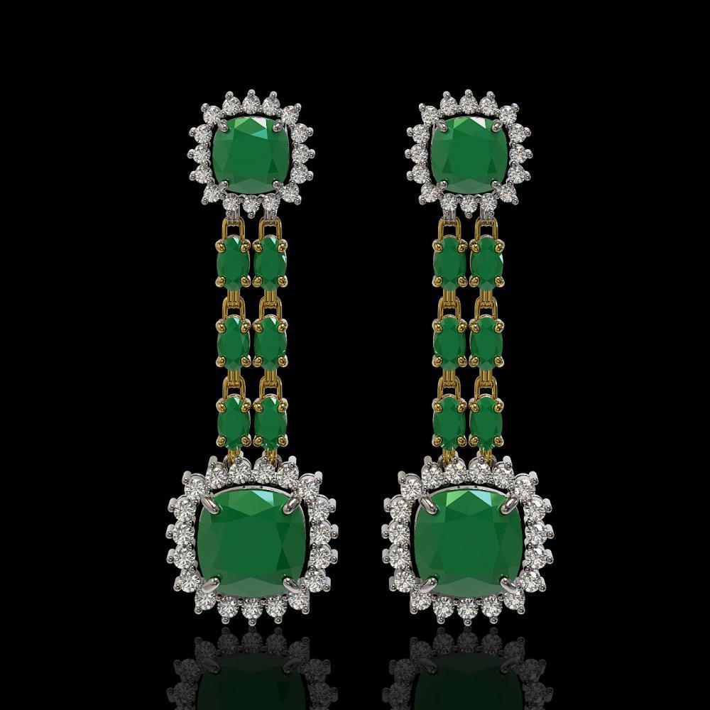 19.88 ctw Emerald & Diamond Earrings 14K Yellow Gold - REF-293F3N - SKU:44911