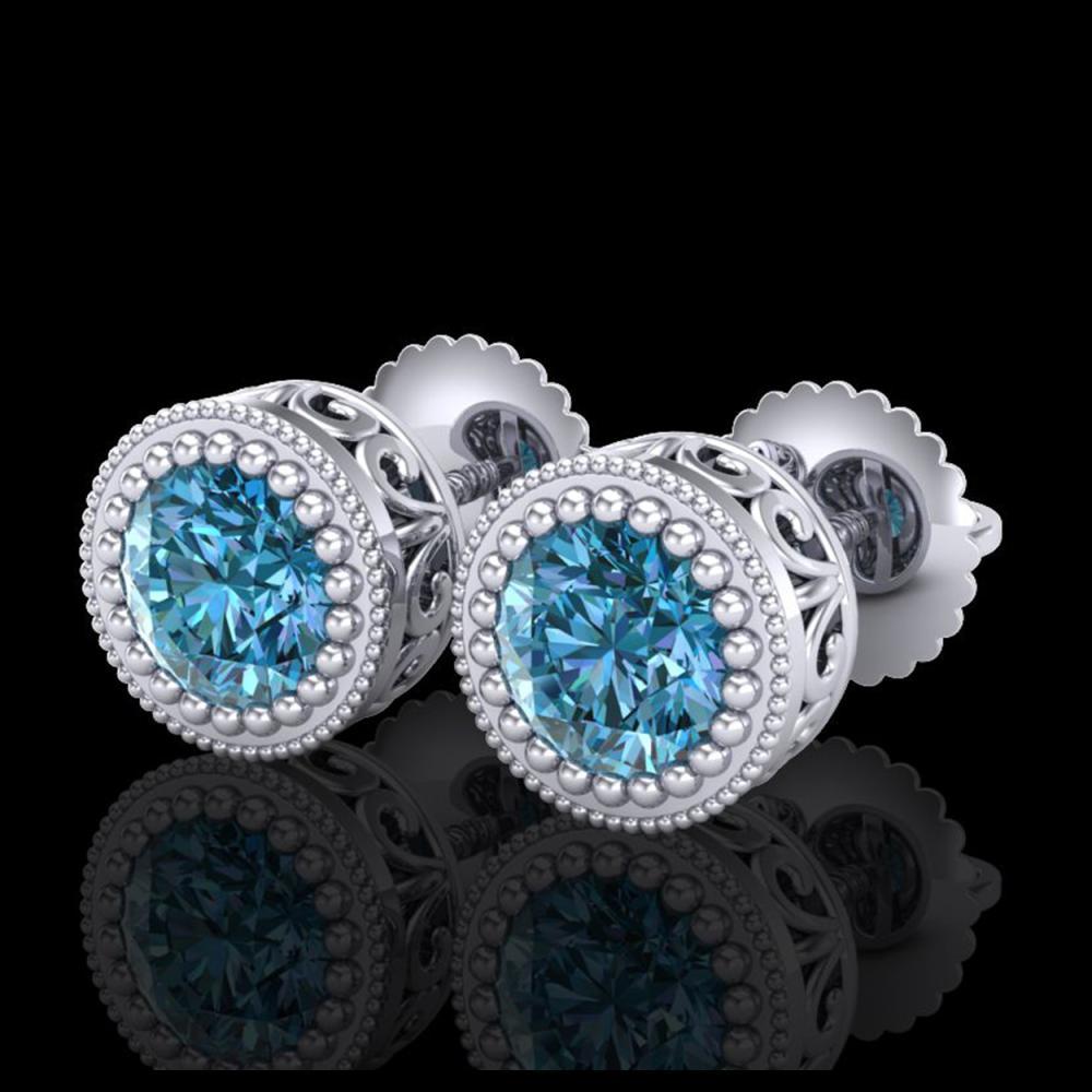 1.09 ctw Fancy Intense Blue Diamond Art Deco Earrings 18K White Gold - REF-143V6Y - SKU:37481