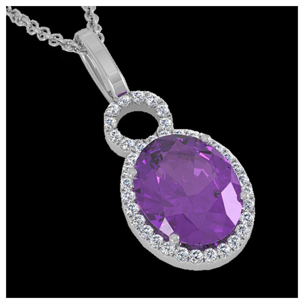 3 ctw Amethyst & VS/SI Diamond Necklace 14K White Gold - REF-45M3F - SKU:22750
