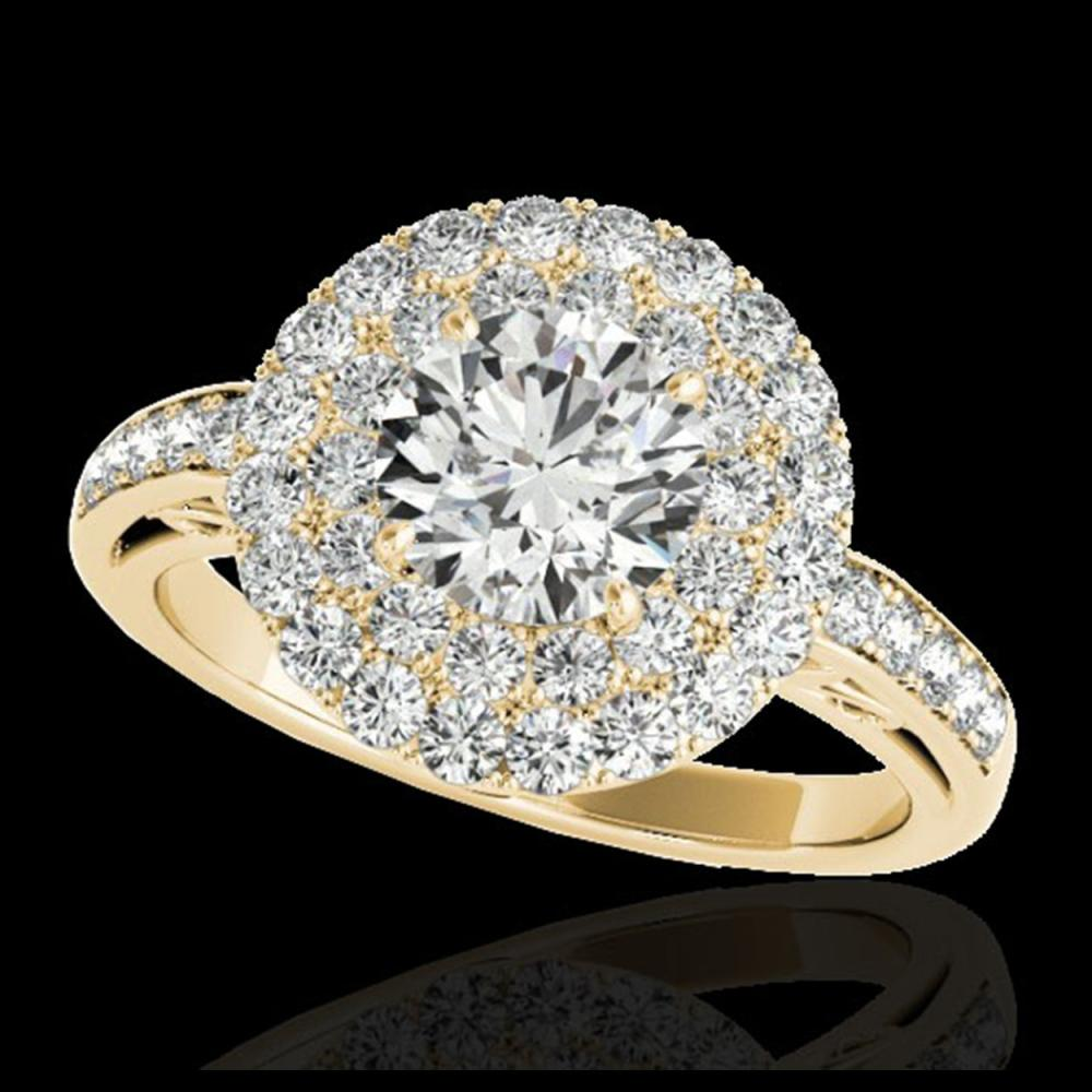 2.25 ctw H-SI/I Diamond Solitaire Halo Ring 10K Yellow Gold - REF-245X5R - SKU:34204