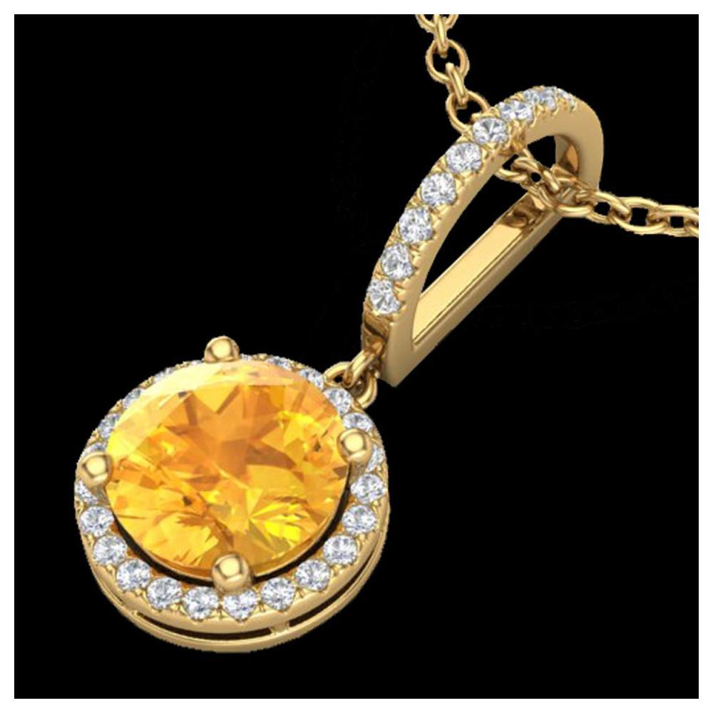 2 ctw Citrine & VS/SI Diamond Necklace 18K Yellow Gold - REF-54H7M - SKU:23194