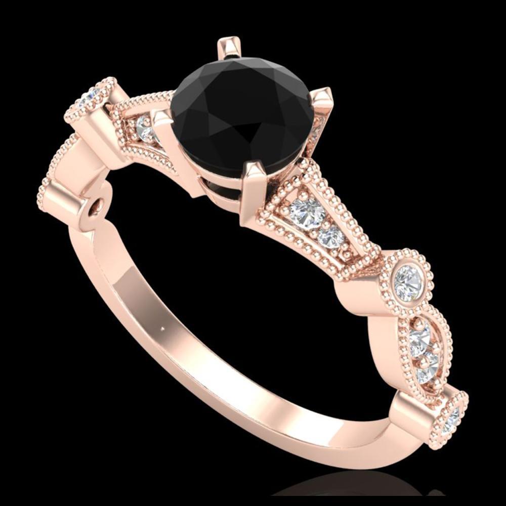 1.03 ctw Fancy Black Diamond Art Deco Ring 18K Rose Gold - REF-80K2W - SKU:37675
