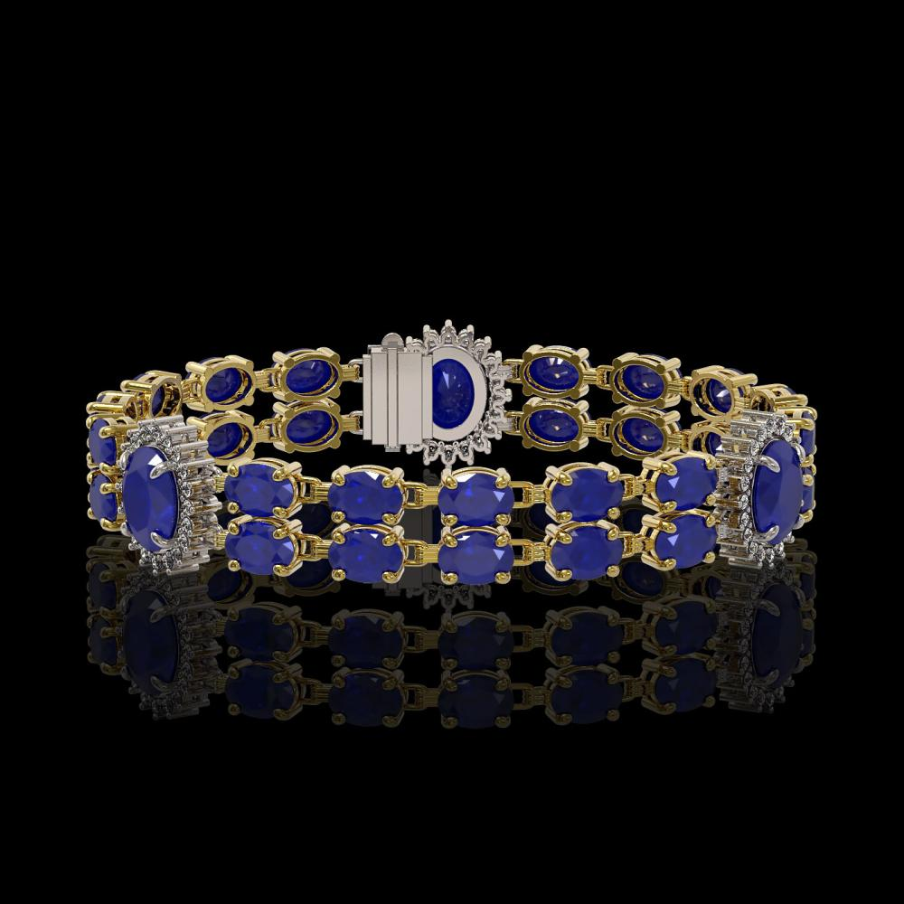 20.99 ctw Sapphire & Diamond Bracelet 14K Yellow Gold - REF-188F2N - SKU:44233