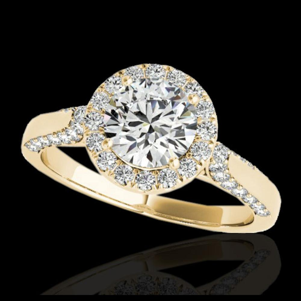 2.15 ctw H-SI/I Diamond Solitaire Halo Ring 10K Yellow Gold - REF-313A6V - SKU:33573