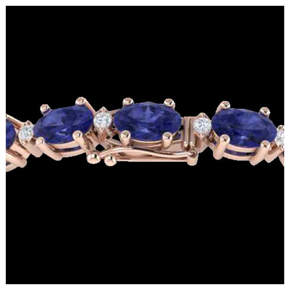 15 ctw Tanzanite & VS/SI Diamond Eternity Bracelet 10K Rose Gold - REF-119M3F - SKU:21461
